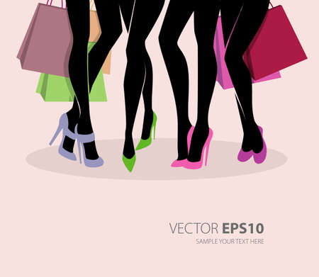 retail place: illustration of Shopping girls  Illustration