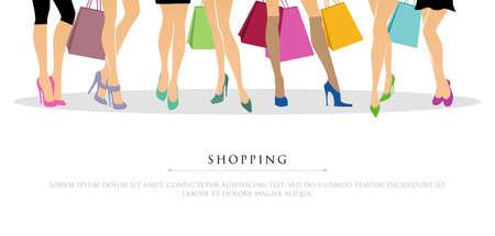 illustration of Shopping girls Vector
