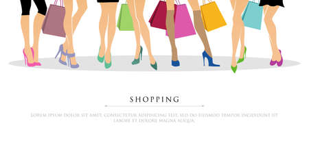 woman legs:  illustration of Shopping girls Illustration