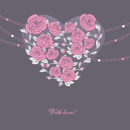 illustration of Floral heart  Vector