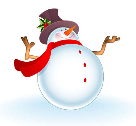 snowman isolated:  illustration of Christmas Snowman  Illustration