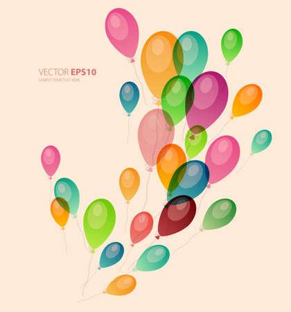 globos de cumpleaños: ilustración de fondo con globos de colores