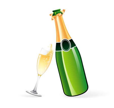 botella champagne: ilustración de la botella de champán y vidrio