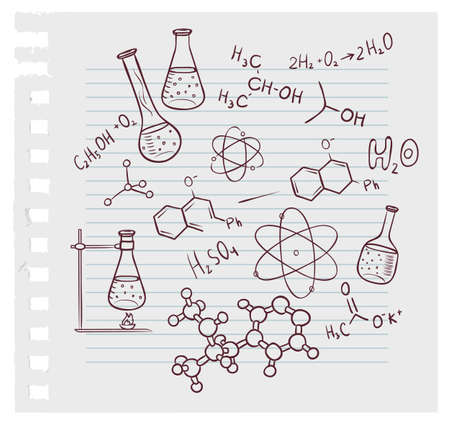 symbole chimique: illustration de la chimie tirage � la main sur fond