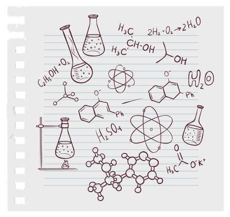 quimica organica: ilustración de la química mano de la cuerda en el fondo Vectores