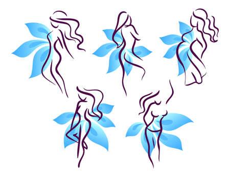 stylized design: illustrazione della donna stilizzata Vettoriali
