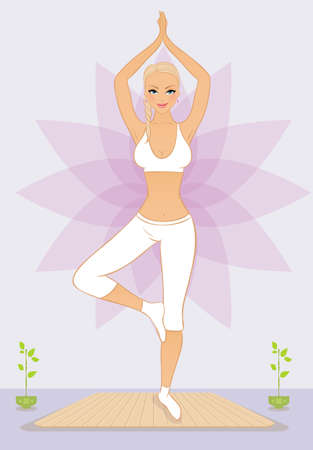 aura energy:  illustration of Beautiful woman doing youga exercises