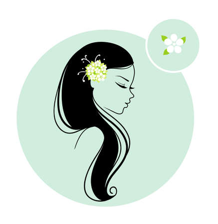 hairdo: Vector illustration of Beautiful woman with floral