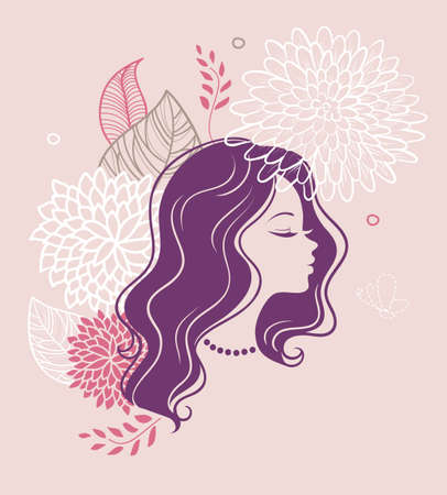 flower icon: Vector illustration of Beautiful woman with floral