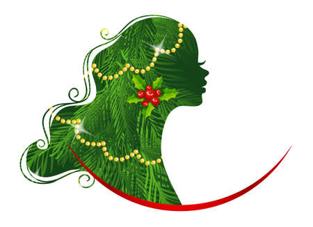 Vector illustration of Xmas womans silhouette green Vector