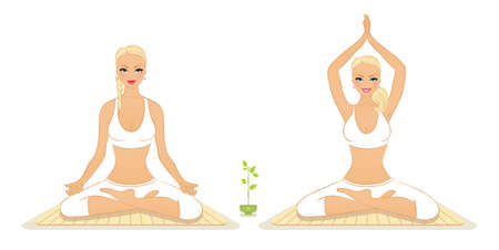 Vector illustration of Beautiful woman doing youga exercises  Stock Vector - 15798510