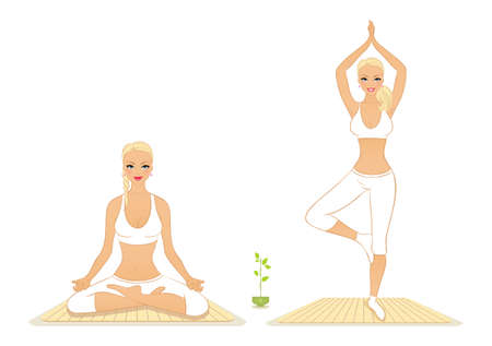 nirvana: Vector illustration of Beautiful woman doing youga exercises