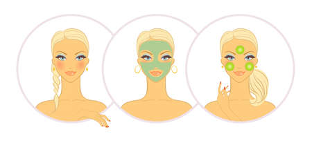 facial massage: Vector illustration of Woman with cosmetic mask Illustration
