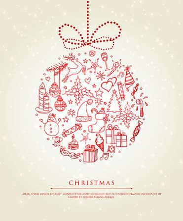 caramelos navidad: Ilustraci�n del vector de la bola de Navidad garabato Vectores