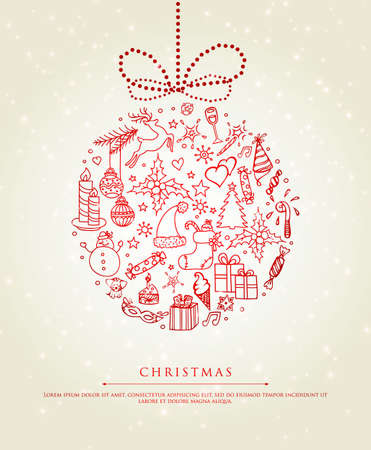 cute cards: Vector illustration of Xmas doodle ball
