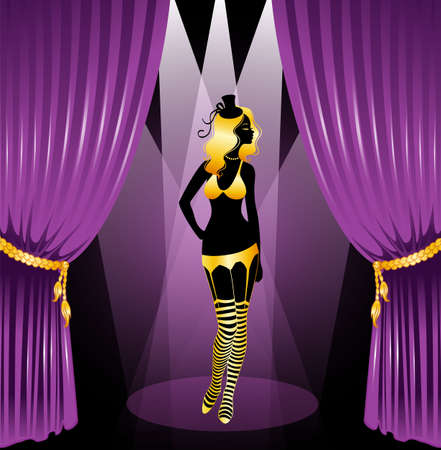 Vector illustration of Cabaret woman silhouette Vector