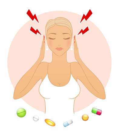 ladies bust: Vector illustration of Woman with headache  Illustration