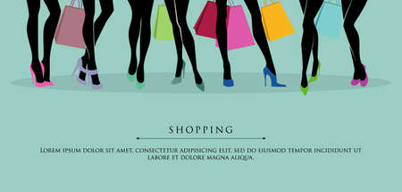 Vector illustration of Shopping girls  Illustration