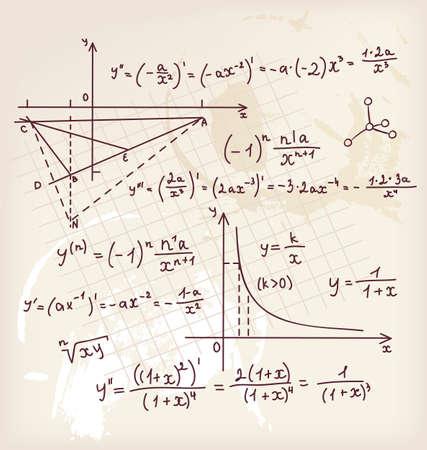 signos matematicos: Ilustración vectorial de fondo Algebra garabato Vectores