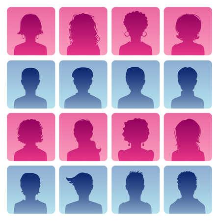 Vector illustration of Man and woman avatars  向量圖像