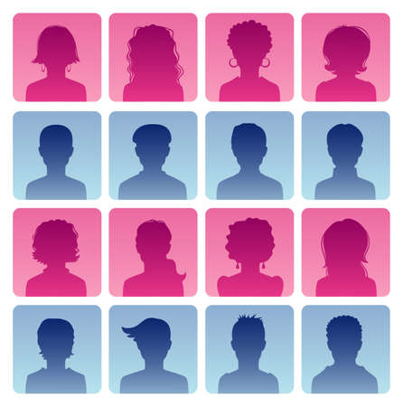 head set: Vector illustration of Man and woman avatars  Illustration