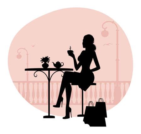 vintage cafe: Illustrazione vettoriale di silhouette di donna bella in caff�