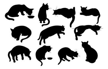 cat sleeping: Vector illustration of Cats Silhouette set