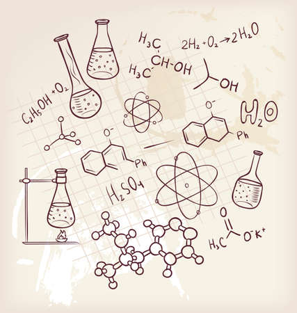 chemical equipment: Vector illustration of Hand draw chemistry on background Illustration