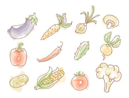 cucumber salad: ilustraci�n de doodles coloridos vegetales establecido Vectores