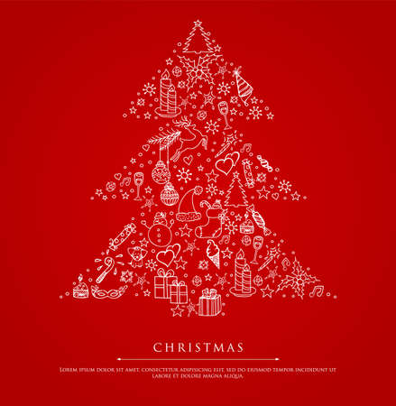 illustration of Stylized xmas tree on red back Vector