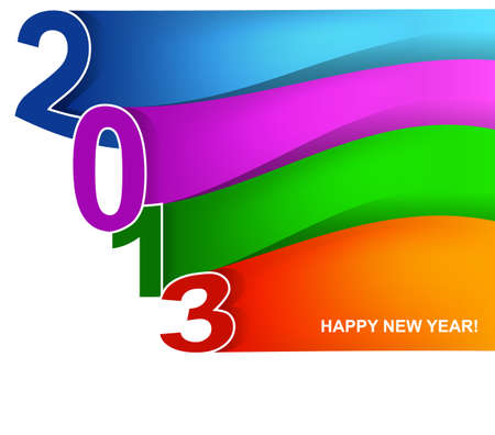 illustration of Colorful wave New year card Stock Vector - 15889903