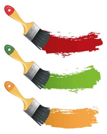 pintor de casas: Ilustraci�n del conjunto de cepillo de pintura de colores Vectores