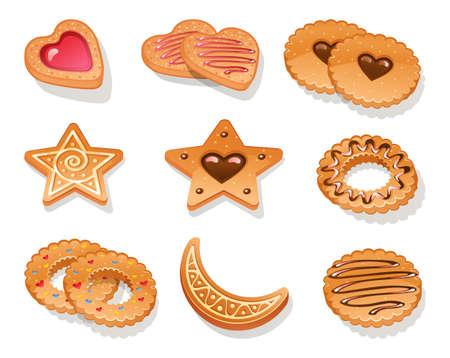 galleta de chocolate: Ilustraci�n del conjunto de galletas diferentes