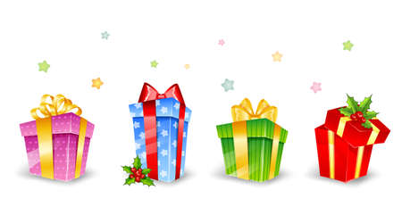 illustration of Set of colorful gift boxes with bows Stock Vector - 15889913