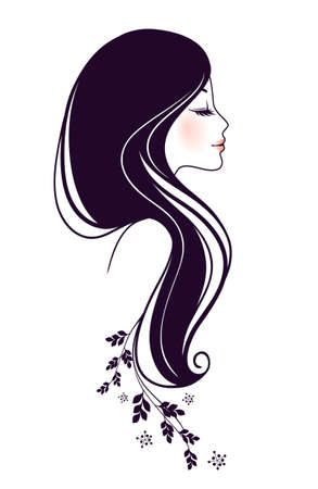 hairdos: illustration of Beautiful woman with floral Illustration