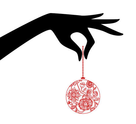 illustration of Woman hand holding xmas ball Vector