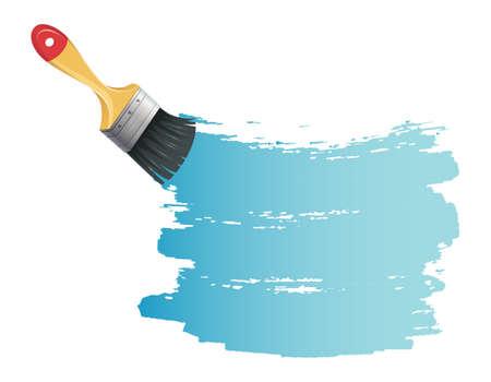 pintor de casas: Ilustraci�n vectorial de un cepillo de pintura con el chapoteo azul