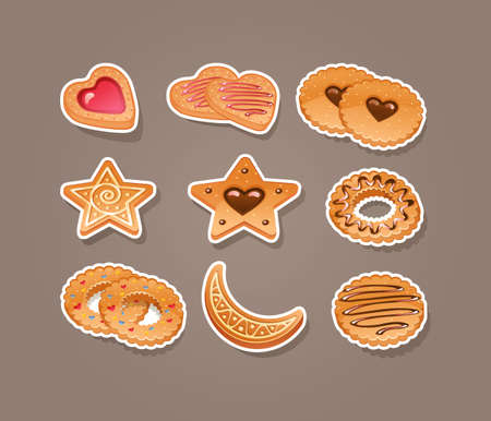 Vector illustration of Set of different cookies Stock Vector - 16025194