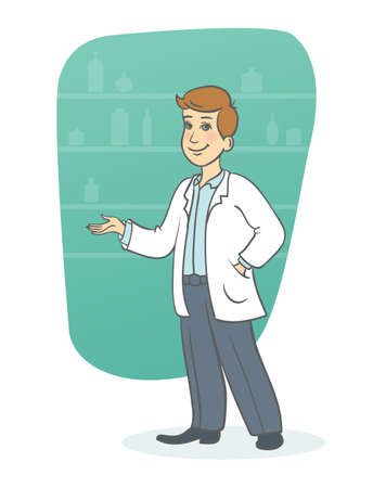 Vector illustration of Young doctor Vector