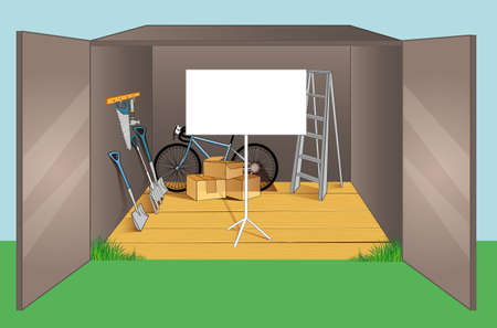 Vector illustration of Garage wiht different old objects Vector