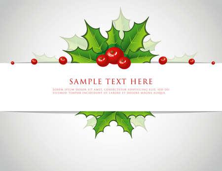 hulst: illustratie van Holly kerst tak terug Stock Illustratie