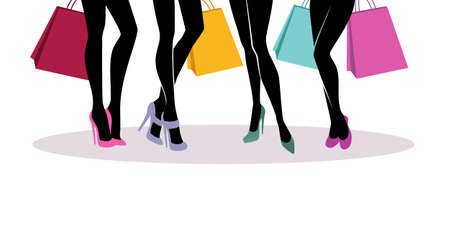 retail place: Vector illustration of Shopping girls silhouette
