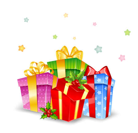 christmas day: illustration of Set of colorful gift boxes with bows Illustration