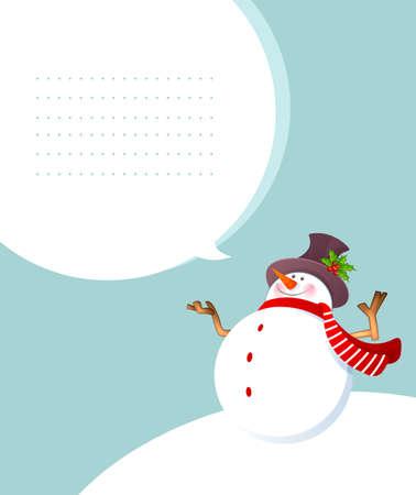 illustration de Noël de bonhomme de neige souriant Vecteurs