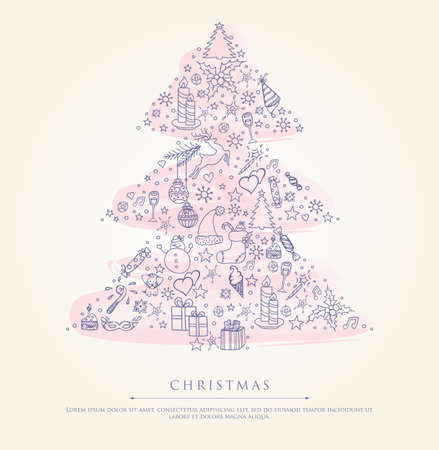 Vector illustration of Stylized xmas tree Stock Vector - 16034096