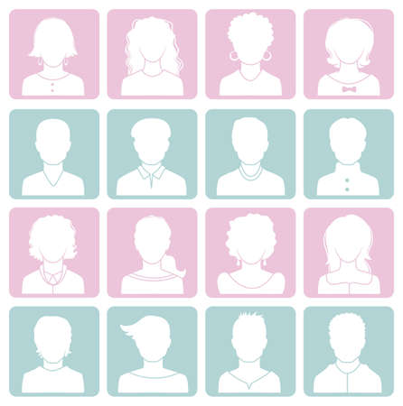 people icon set: Vector illustration of Man and woman avatars