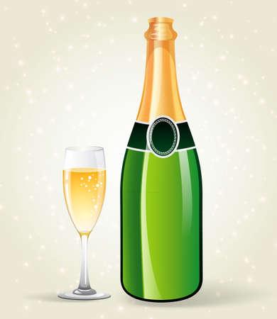 bollicine champagne: Illustrazione vettoriale di bottiglia di champagne e vetro Vettoriali