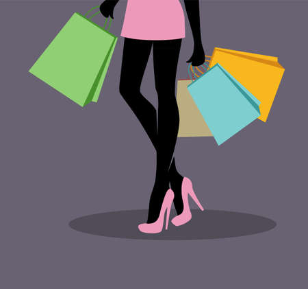 Vector illustration of Shopping girl Vector