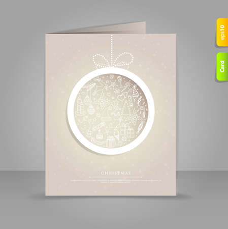 Vector illustration of Gift card with Xmas doodle ball Vector