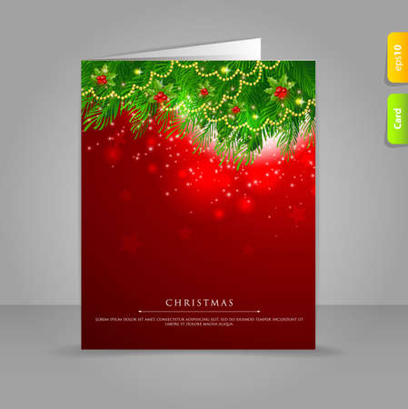 Vector illustration of Gift card with Xmas branch Vector